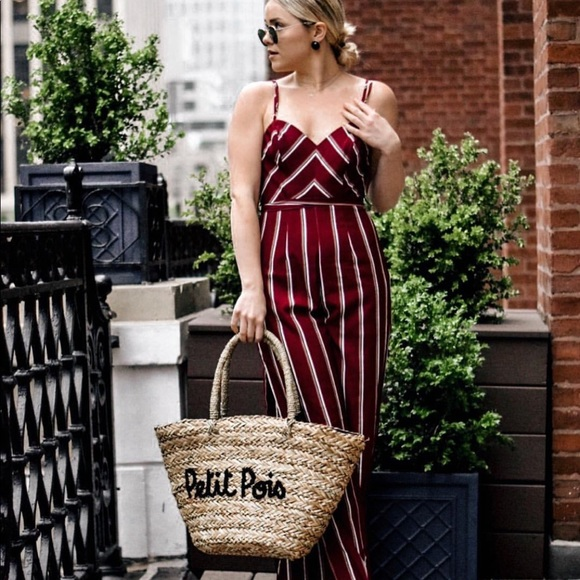 Pants - Striped low back jumpsuit